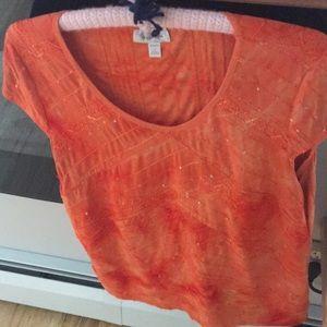 Dress Barn Sequined 1X Orange Top